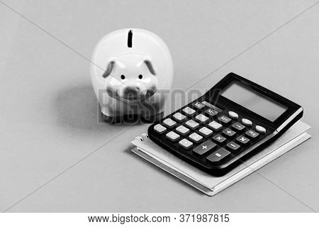 Calculate Profit. Piggy Bank Pink Pig And Calculator. Business Administration. Finance Manager Job P