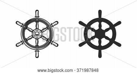 Vintage Ship Wheel Icon. Nautical Icon Isolated On White Background. Steering Wheel Silhouette. Vect