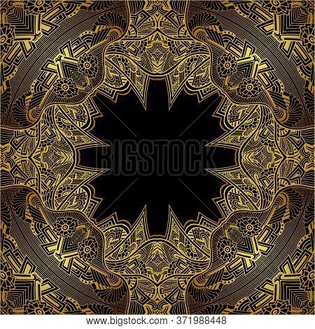 Template Abstract Background With Lace In Zen Tangle Zen Doodle Indian Arabic Eastern  Style Gold An