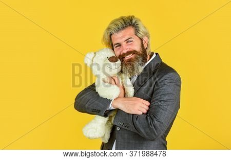 I Love It. Valentines Day Gift. Man In Jacket Hold Teddy Bear. Bizarre People Concept. Businessman P