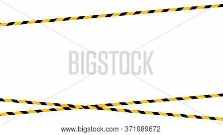 Caution Tape Line Yellow Black Stripe Pattern Isolated On White Background, Warning Space With Ribbo