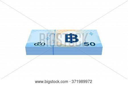 Money 50 Baht Banknote Thai, Currency Stack Of Fifty Baht Thb Type, Bank Note Money Thailand Baht Fo