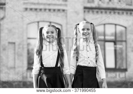School Friends. Happy Friends Back To School. Small Friends Wear Uniform Outdoors. Fashion Look Of L