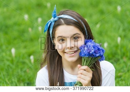 Smile As Sweet As Spring. Happy Child Hold Flowers Outdoors. Spring Blossom Arrangement. Flower Shop