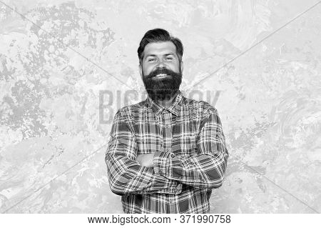 Man Mature Good Looking Model. Happy Man With Beard And Mustache. Charismatic Hipster In Barbershop.
