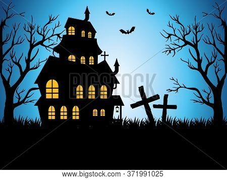 Happy Halloween Card With Enchanted Castle Vector Illustration Design