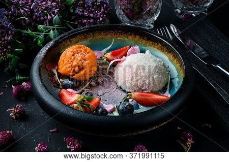 Coconut Popsicles With Fresh Vegan Ice Cream, Popsicles With Coconut And Fresh Berries, A Scoop Of I