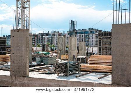 Concrete Foundation For A House Building. Real Estate Business. Building Under Construction On A Cem