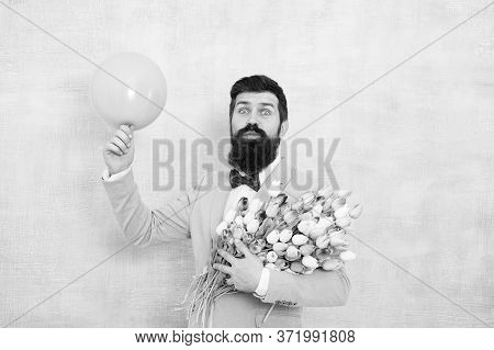 Dating And Flowers. Happy Bachelor Hold Tulips And Balloon. Floral Gift For Dating Anniversary. Vale