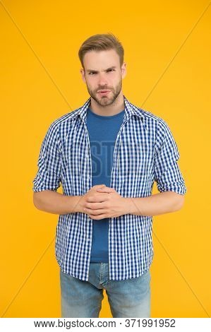 Unmarried Guy. Bachelor Yellow Background. Fashion Look Of Bachelor Man. Handsome Bachelor In Casual