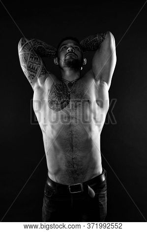 I Am Perfect. Tattoo Man With Sexy Bare Torso. Bearded Macho With Tattooed Body. Athlete With Sexy B