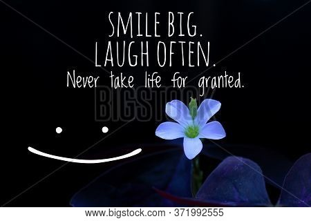 Inspirational Motivational Quote - Smile Big. Laugh Often. Never Take Life For Granted. With Little