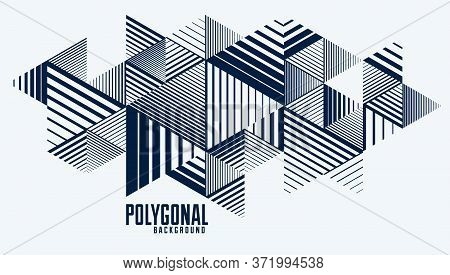 3d Cubes And Triangles Lined Stripy Abstract Vector Background With Retro Style Element Isolated And