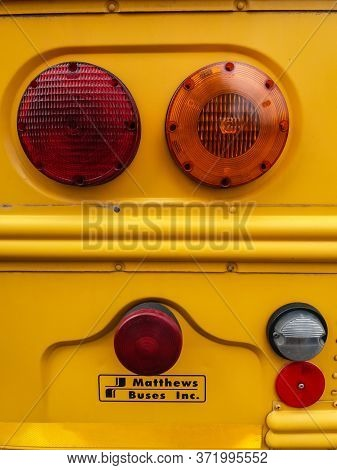 Bucharest, Romania - September 26, 2019: A Classic American School Bus From Thomas Built Buses On Fr