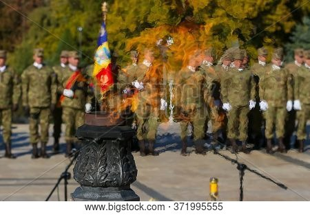 Bucharest, Romania - October 25, 2018: The Elite Troops Of The Romanian Army Infantry Are Seen Throu