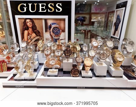 Bucharest, Romania - December 21, 2016. Guess Watches In A Showcase. Guess Brand Is Known All Around