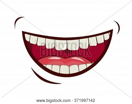Charming Smile, Emotional Expression Of Feelings, Laughter, Joy. Wide Open Mouth, Upper And Lower Ja