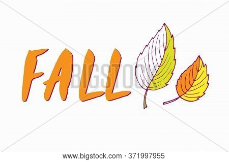 Red Fall Lettering With Two Fall Leaves. Hand Drawn Vector Sketch. Floral Herb Design Elements. For