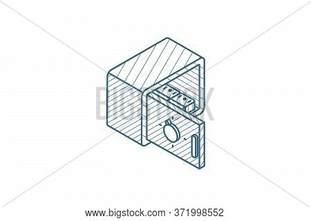 Open Safe, Banking, Secrecy Money Cash Isometric Icon. 3d Line Art Technical Drawing. Editable Strok