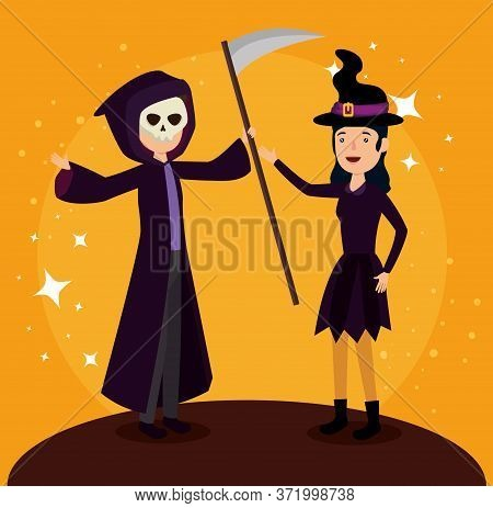 Halloween Card With Witch Disguise Ans Death Vector Illustration Design