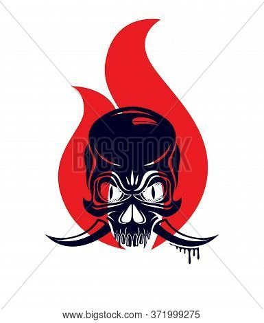 Devil Sign Horned Skull In Flames Vector Illustration Classic Style Tattoo, Dead Scull With Animal H