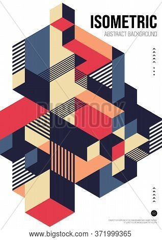 Abstract Isometric Geometric Shape Layout Design Template Poster Background Modern Art Style. Design