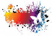 rainbow ink splat background with a butterfly and copy space poster