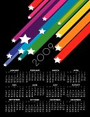 a 2009 star calendar with a rainbow of color poster