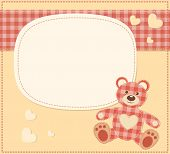 Card with the teddy bear for baby shower. Vector illustration. poster