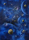 """picture painted by me named """"Corona"""" it shows a corona-like structure planets and bubbles in blue spacy back poster"""