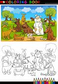 Coloring Book or Page Cartoon Illustration of Funny Dogs Group against Blue Sky for Children poster