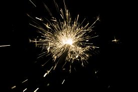 Yellow Sparkler Countdown On Fire With Spread Of Glitter Sparks. Luxury Entertainment At E.g. New Ye