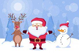 Merry christmas. Deer, santa claus and snowman. Christmas. Christmas Vector. Christmas Background. Merry Christmas Vector. Merry Christmas banner. Christmas illustrations. Merry Christmas Holidays. Merry Christmas and Happy New Year Vector Background. Mer
