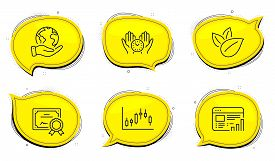 Candlestick Graph Sign. Diploma Certificate, Save Planet Chat Bubbles. Safe Time, Organic Product An