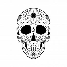 Day Of The Dead Sugar Skull With Detailed Floral Ornament. Mexican Symbol Calavera. Black And White