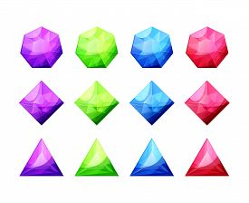 Set Of Different Shaped Crystals, Gemstones, Diamonds. Detailed Colorful Gems Icons. Vector Gui Asse