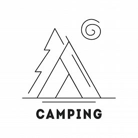 Line Icon With Summer Holiday Activity Concept. Camp With Tent In The Forest. Nature Background With