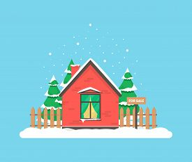 Winter Scene With House, Christmas Trees And Snowfall. Holiday Frozen Background For Decoration Card