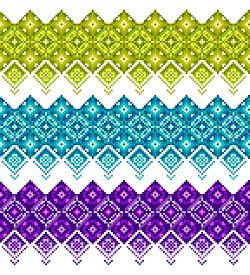 Tree Seamless Patterns For Your Design And Decoration Green, Blue And Purple. Cool Colorful Backgrou