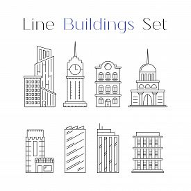 Line Design Art House And Building Icons Set. Collection Of Architecture. Flat Constructions. Object