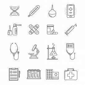 Collection Of Medicine Line Icons. Health Care Elements Set. First Aid And Therapy Objects. Medical