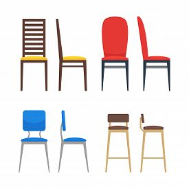 Colorful Chairs Icon Set. Home Seating Furniture For Living Room Or Kitchen. Flat Stool Collection.