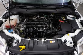 Novosibirsk/ Russia - May 25, 2020: Ford Focus,close Up Detail Of  Car Engine, Front View. Internal