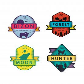 Wild Bizon And Hunter, Moon And Forest Set Logo