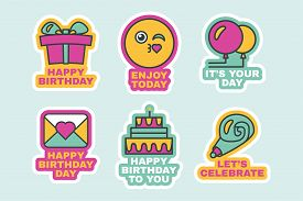 Birthday Stickers Set Colorful Event Labels Flat