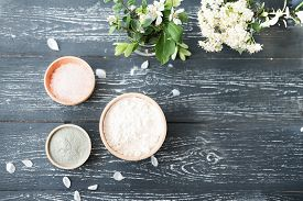 Home Beauty Care. Making Clay Mask Or Scrub At Home. Components For Cleaning Mask Clay, Sea Salt, Co