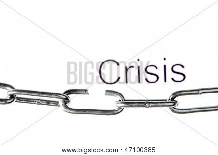 Broken chain isolated on white poster