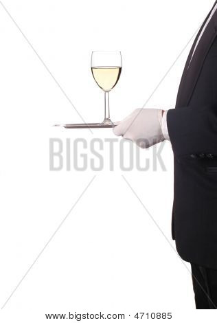 Man In Tuxedo With Red Wine On Tray
