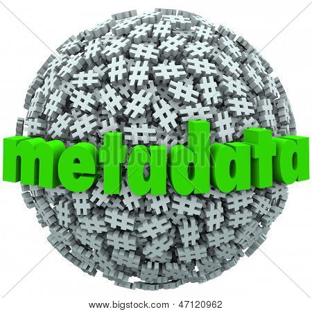 A ball or sphere of hash tags or number pound signs and the word Metadata to illustrate posts and data published on websites or social network sites