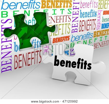 The words Benefits on a wall with a hole and a puzzle piece to illustrate features and unique selling points of a product or valuable fringe benefits in your compensation